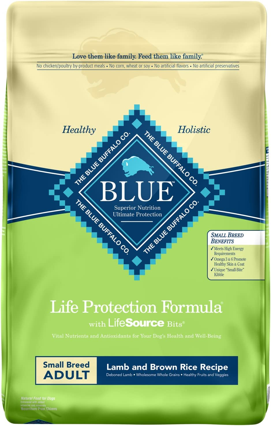 Blue Buffalo Life Protection Formula Small Breed Dog Food , Natural Dry Dog Food for Adult Dogs , Lamb and Brown Rice , 15 lb. Bag