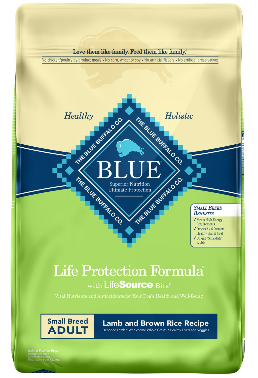 bluee Life Predection Formula Adult Small Breed Lamb and Brown Rice Dry Dog Food 15-lb