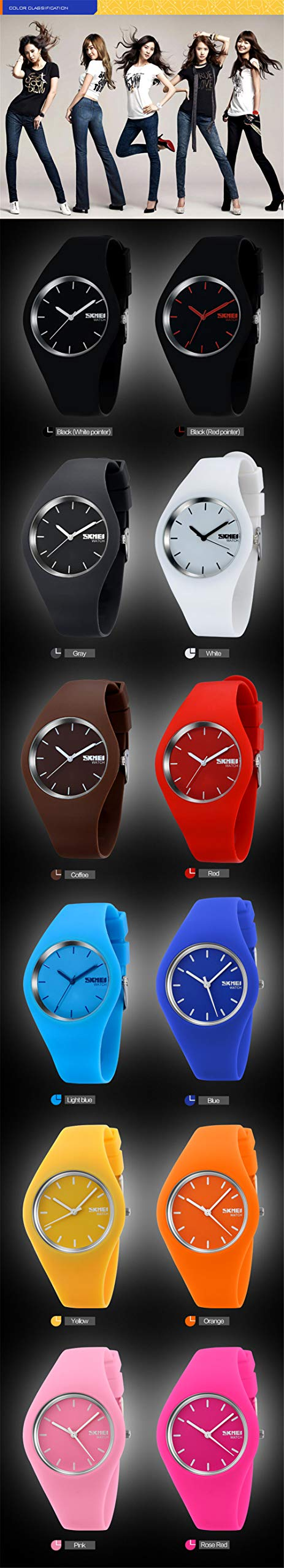 Skmei Fashion Trends Korean Version of The Silica Gel Quartz Ultra-Thin fine Gift Watches(12 Styles) (Rose red) by SKMEI (Image #4)