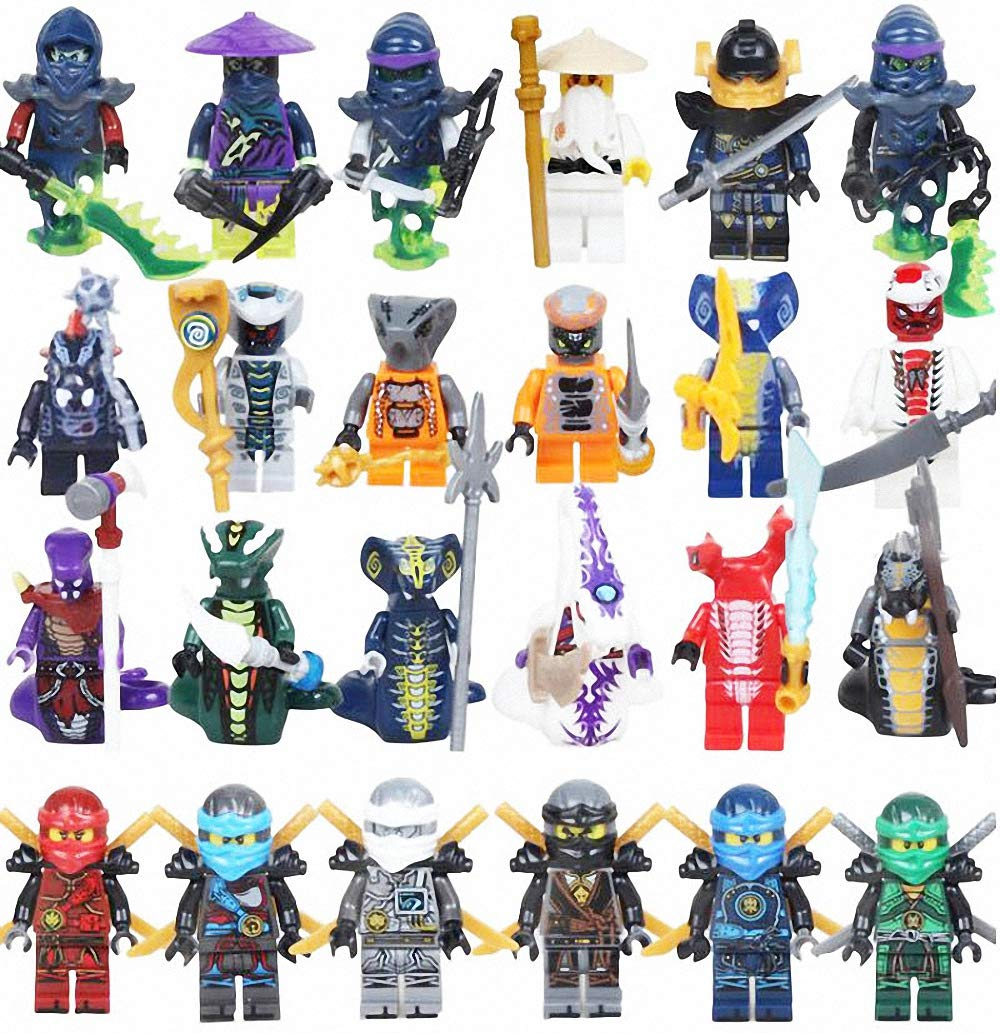 VURJFEIO 24 Pieces Ninjas Minifigures, Ninjas Fighting with Weapons Set Building Blocks Action Figures Toy, Kids Gift ztot