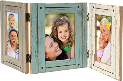 Hand Painted Rustic Three Picture Frame made from Distressed Wood: Holds three 4x6 Photos: Shabby Chic, Driftwood, Barnwood, Farmhouse, Reclaimed Wood Picture Frame. Displays on tabletop or shelf.