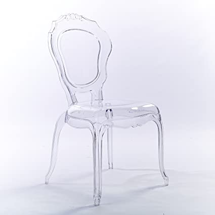 Great 2xhome   Plastic Chair No Arm Side Chair With Back Clear Legs Dining Chair