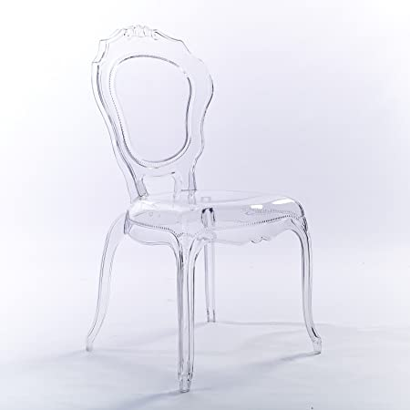 2xhome – Clear – Belle Style Ghost Side Chair Dining Room Chair – Clear Accent Seat – Lounge No Arm Arms Armless Less Chairs Seats Higher Fine Modern Designer Artistic