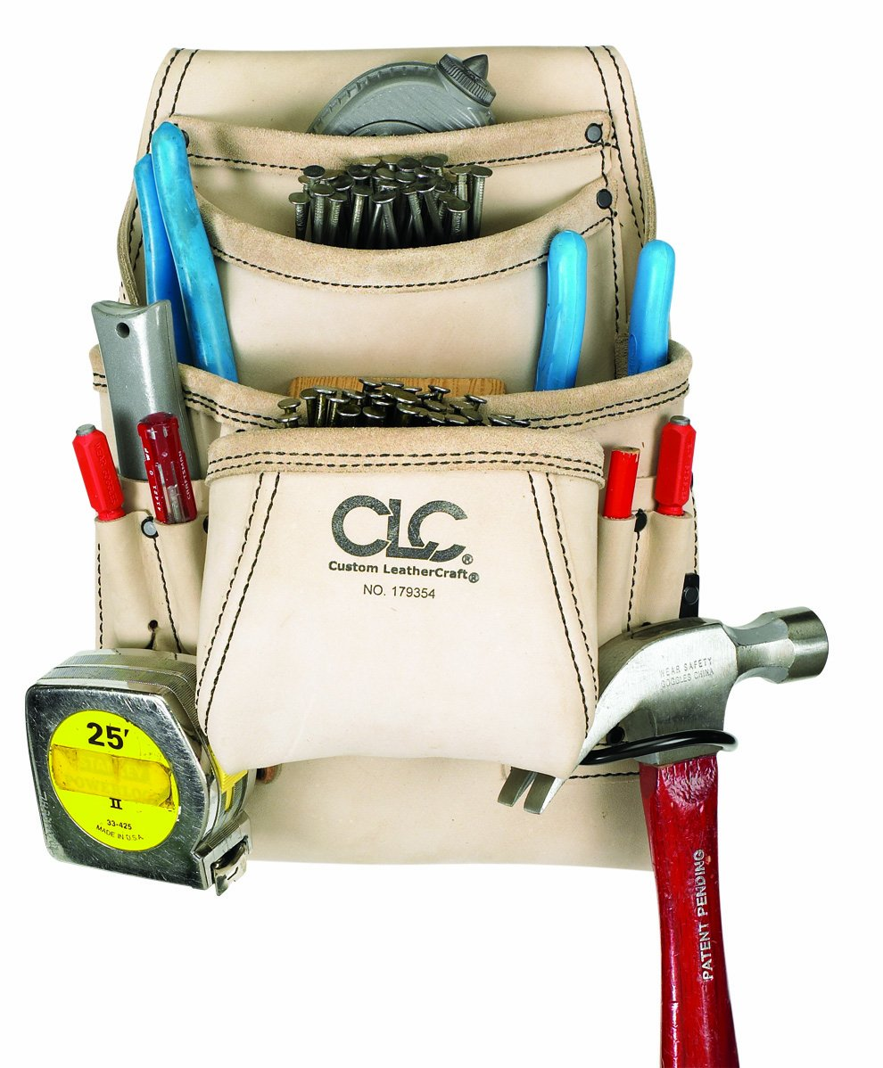 CLC Custom Leathercraft 179354 Carpenter's Nail and Tool Bag Reversed Top Grain, 10 Pocket by Custom Leathercraft