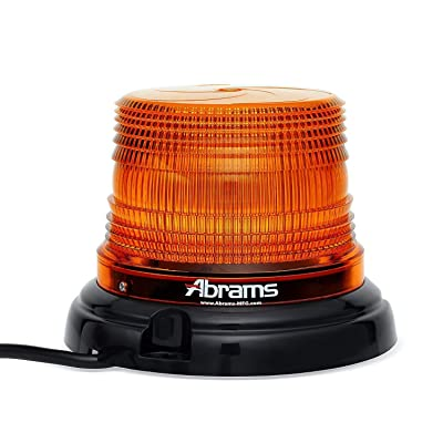 "Abrams StarEye LED Beacon 4"" Inch Dome [12 LED] [36W] Roof Top Permanent Mount [SAE Class-1] [30+ Flash Patterns] [IP67] Construction Vehicle Cars and Trucks Amber Flashing Warning Strobe Beacon Light: Automotive"