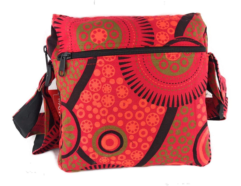 Axelväska i bomull för kvinnor indisk etnisk stil, Boho Maliprint väska bomullssatche l med klaff. Bohemisk hippie Röd