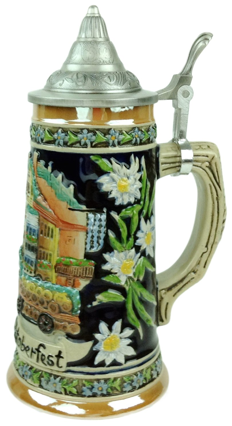 Munich Oktoberfest Scenic German Street Scene Engraved Ceramic Beer Stein with metal lid Essence of Europe Gifts E.H.G S4015