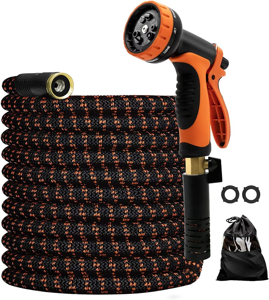 Expandable Garden Hose with Spray Nozzle, 100ft Lightweight Expanding Water Hose with Solid Brass Fittings, Extra Strength 3750D Durable Fabric, Gardening Flexible Latex Hose Pipe
