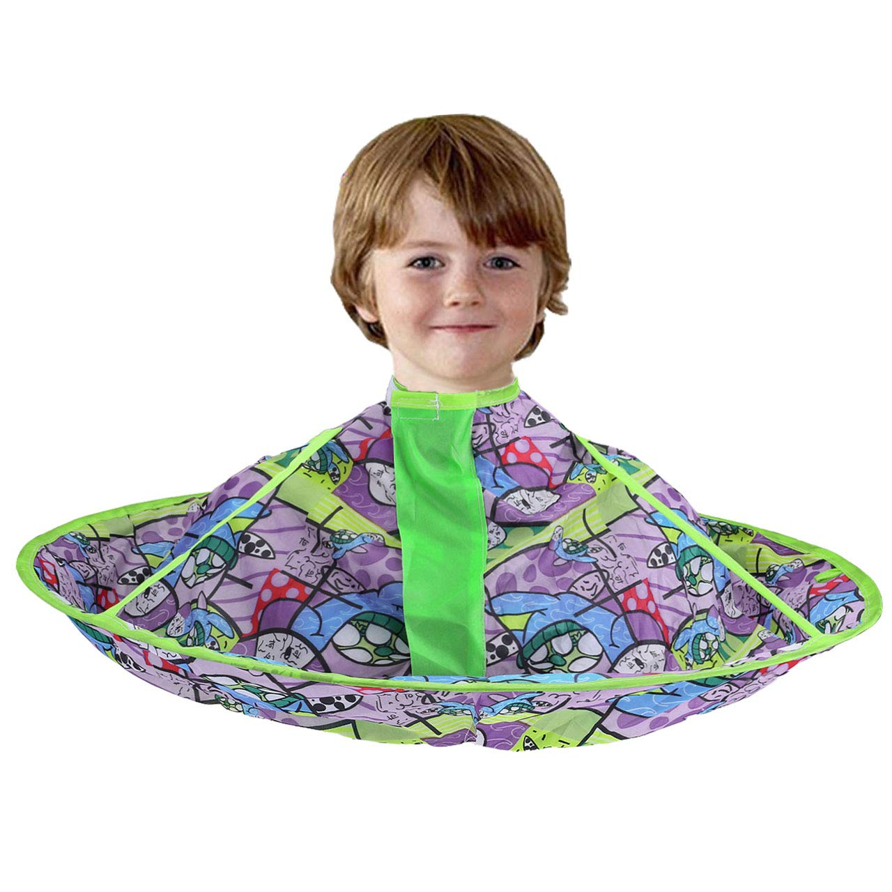 CCbeauty Children Barber Cape for kid Haircut Umbrella Hair Catcher kids Hair Styling Cutting Cape Apron (Blue and White)