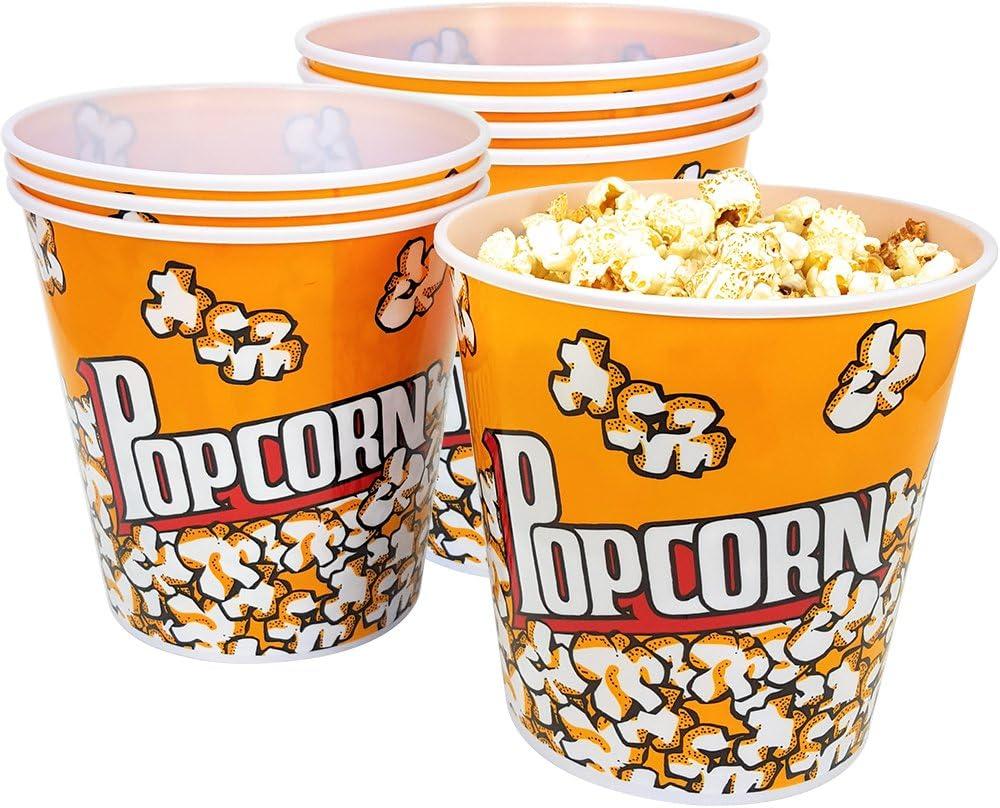 com-four® 8x cubo de palomitas de maíz, cuenco de palomitas de maíz con una capacidad de 2,8 litros cada uno (08 piezas)