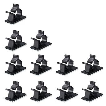 100 PCS Clips de Cable Abrazaderas Cables Autoadhesivas Clips de Alambre Ordenador Cable para Escritorios Mesas