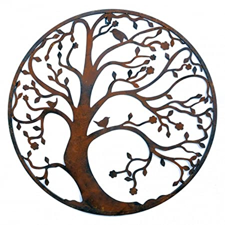 Large 58cm Distressed Brown Metal Tree Circle Wall Art Sculpture for ...