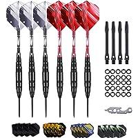 Dartpijlen, professionele steeldarts met metalen punt, 22 23 24 gram, set van stalen darts met aluminium schacht (zwart…