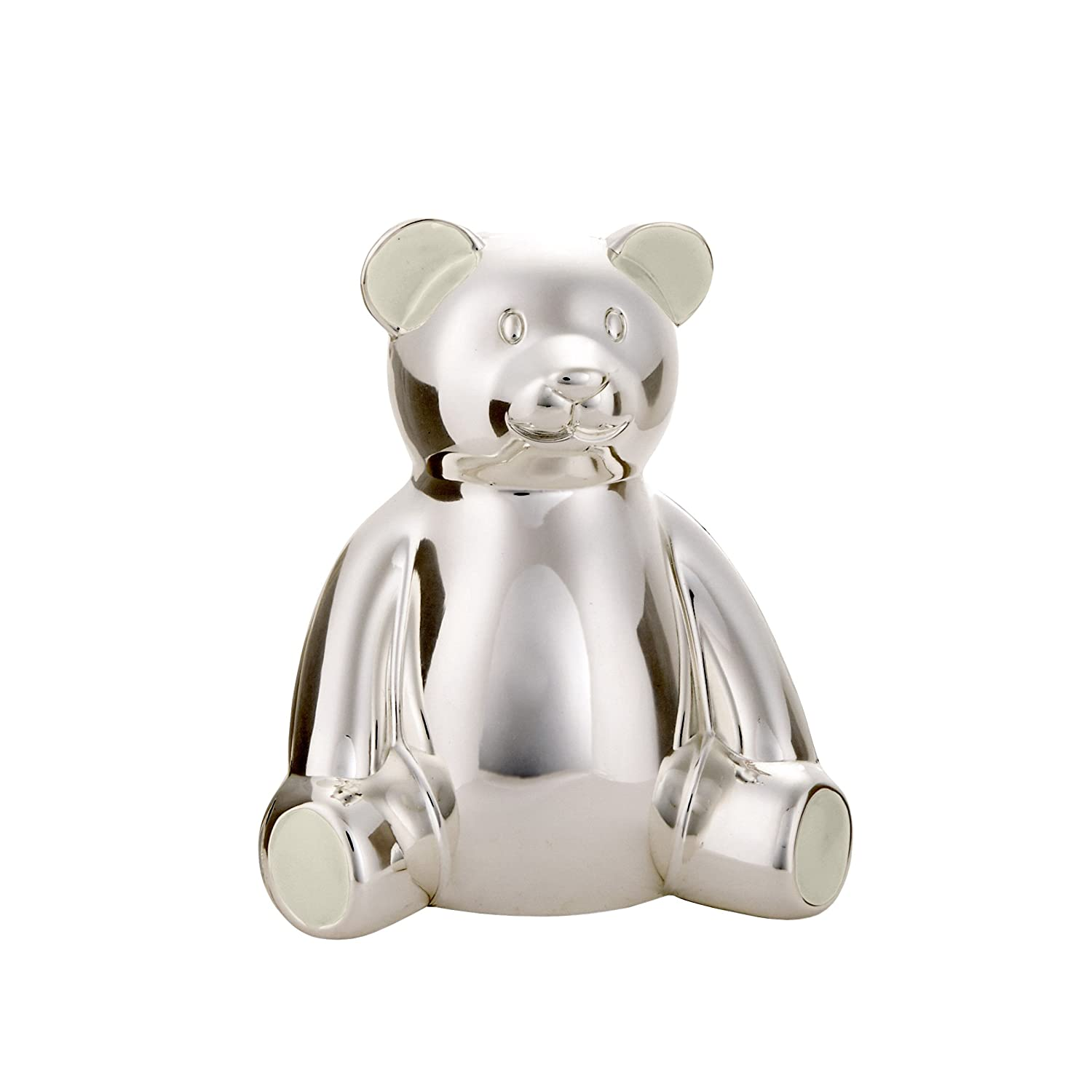 Carter's Large Silver Ceramic Piggy Bank, 6.5 W x 7 H x 8.5 D C.R. Gibson - Baby BB1-20793