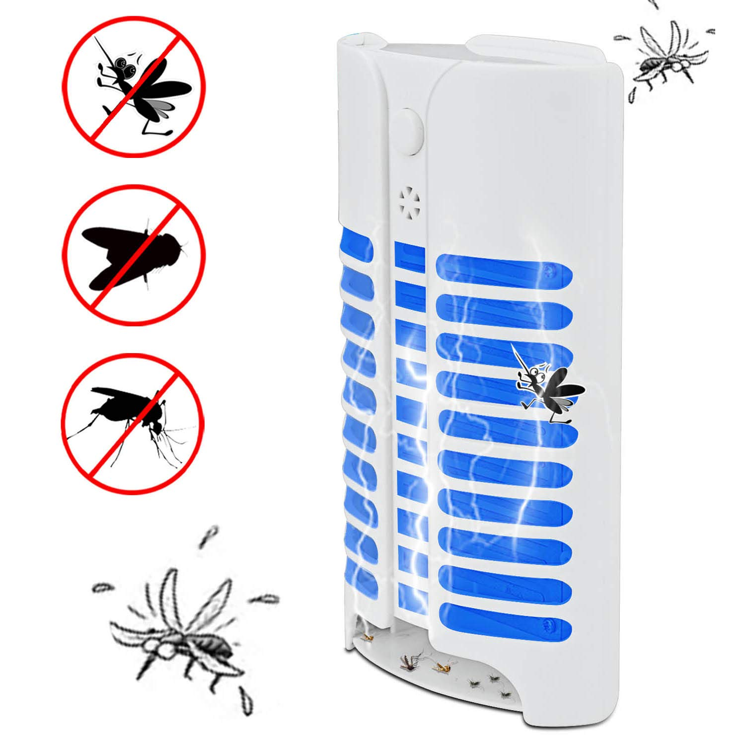 Htheone Electric Indoor Bug Zapper, Mosquito Killer, Insect and Fly Zapper Catcher Killer Trap with UV Night Sensor Light for Home, Office and Patio Indoor Use by Htheone