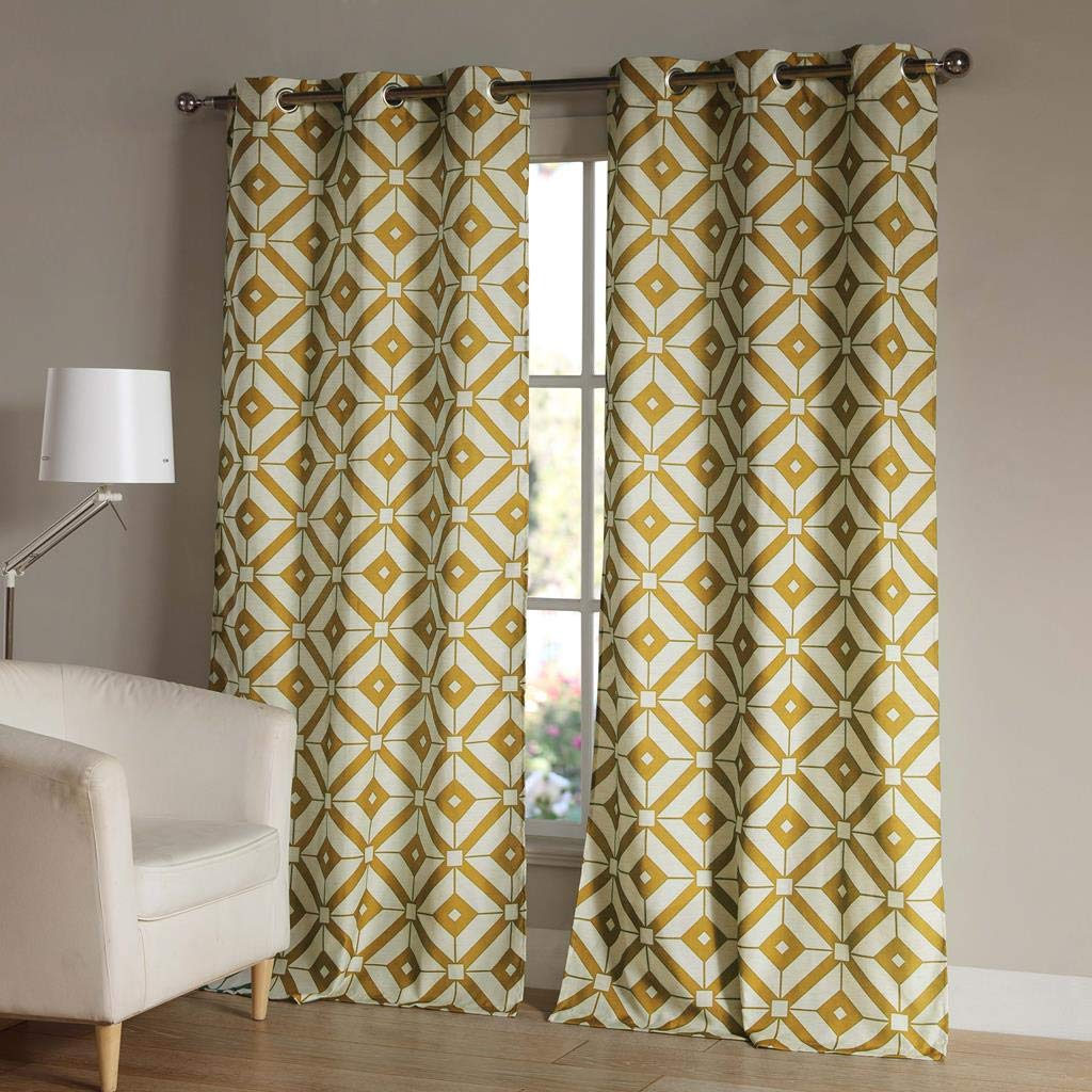 Duck River Textiles - Home Fashion Printed Geometric Linen Textured Grommet Top Window Curtains for Living Room & Bedroom - Assorted Colors - Set of 2 Panels (38 X 84 Inch - Mustard)