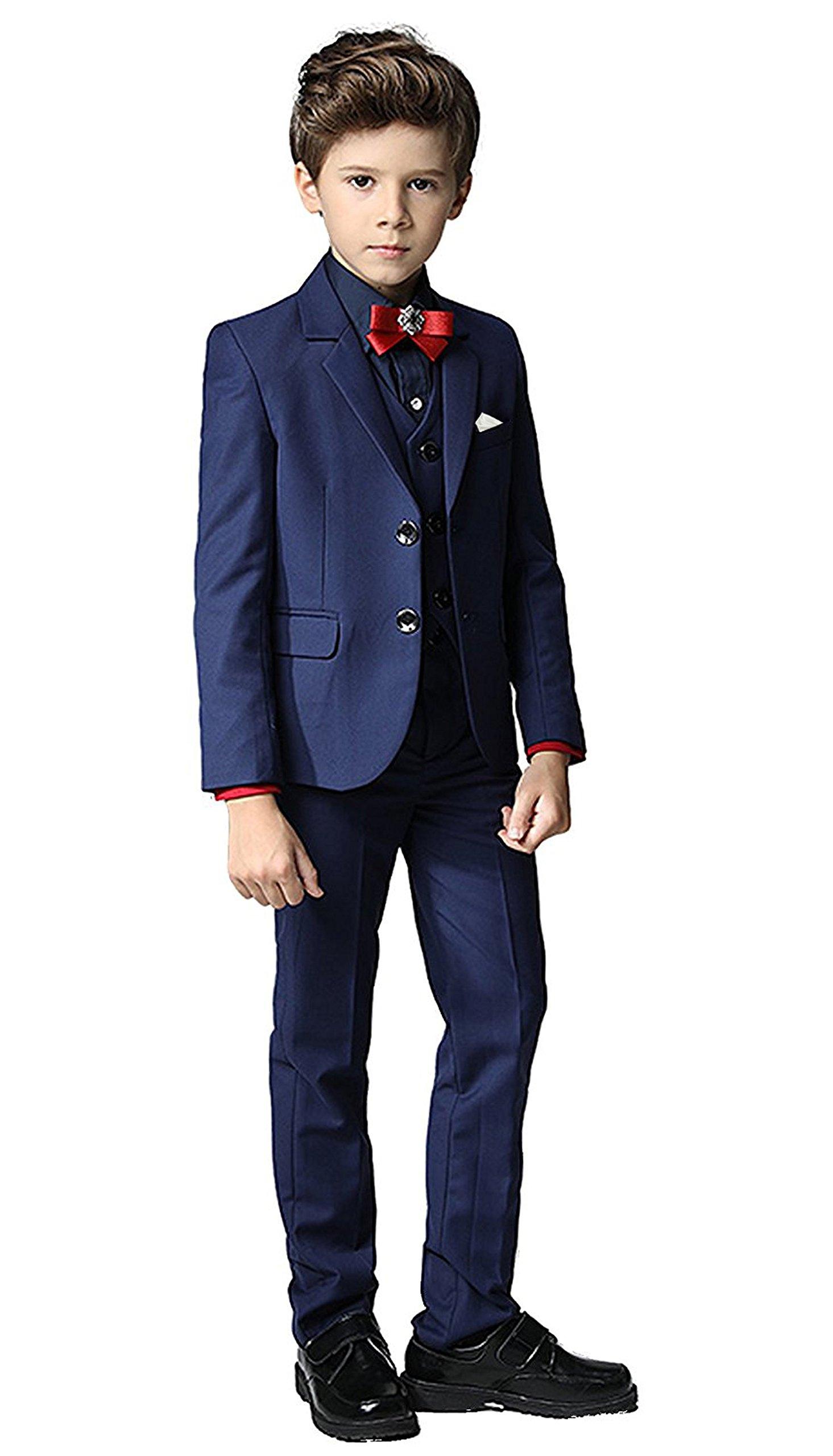 Toddler Kids Boys Suits 3 Piece Set Slim Fit,Blazer Vest Pants Handkerchief Navy Blue Size 7