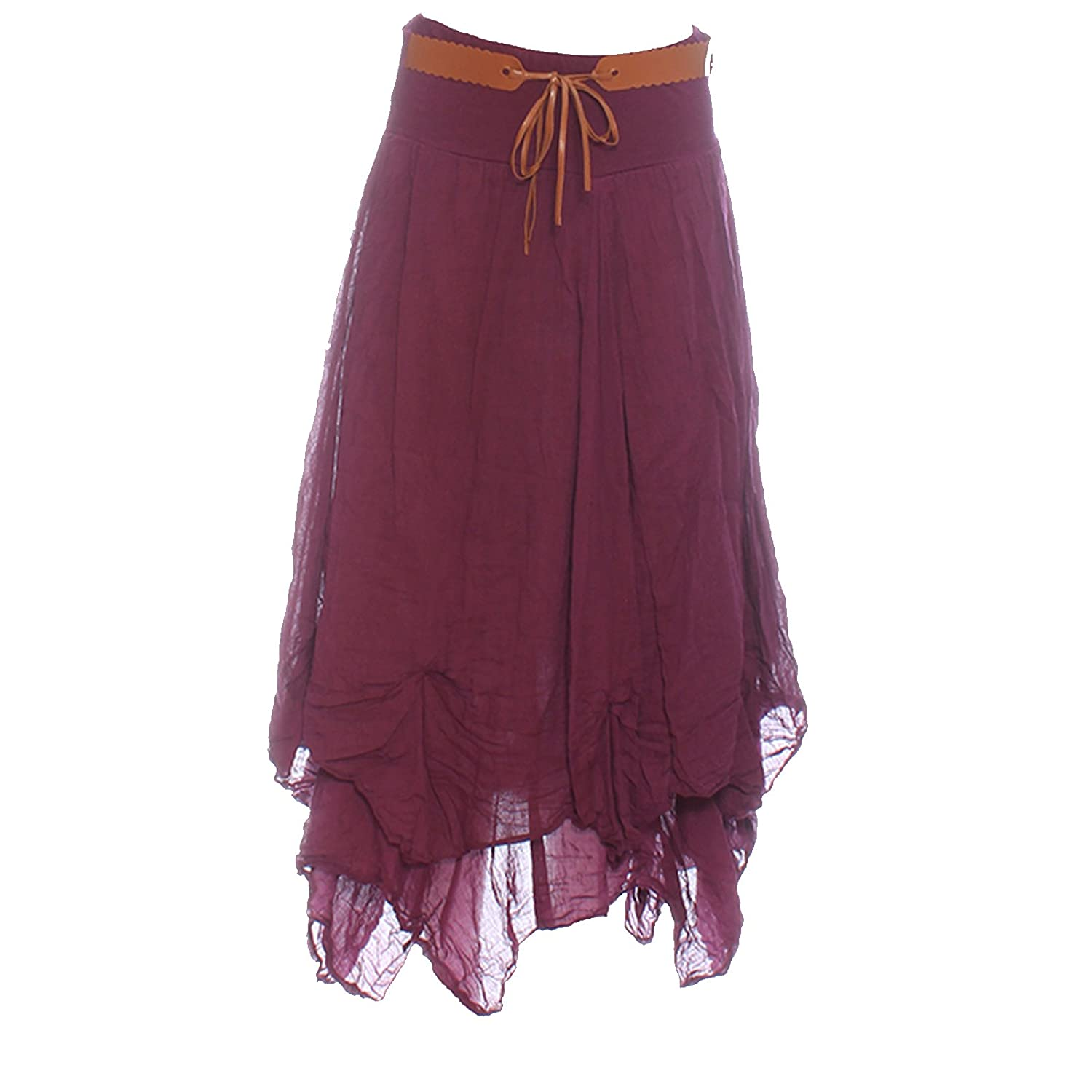Candy Clothing Made Ladies Hi Waisted Cotton Skirt Festival Belted Boho Gypsy Tiered Asymmetric Hitched Hem Long Maxi Skirt Festiva