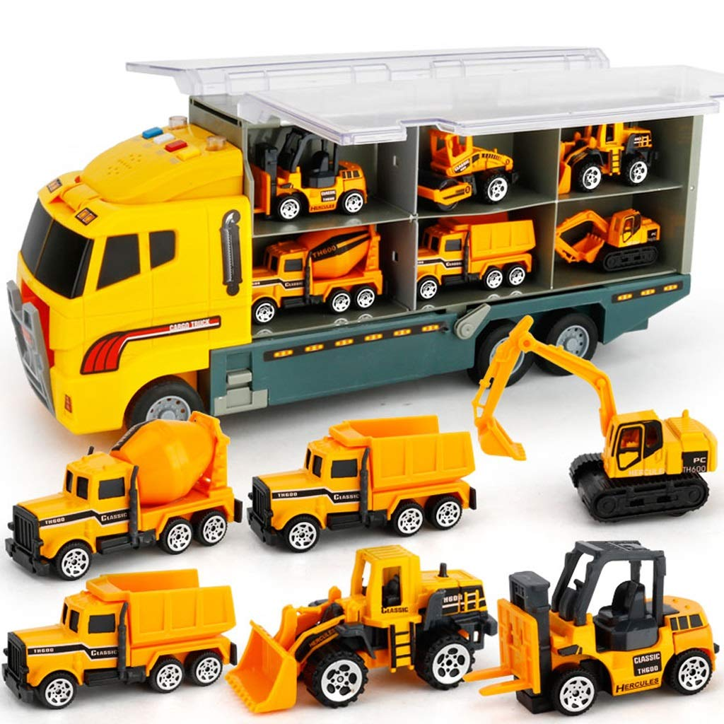 Die-cast Construction Truck Vehicle Set di giocattoli per auto Play Vehicles in Carrier Truck, Bulldozer Toy, Construction Truck Veicolo di ingegneria, Card Vehicle Toy, Building Play Set - Per bambin