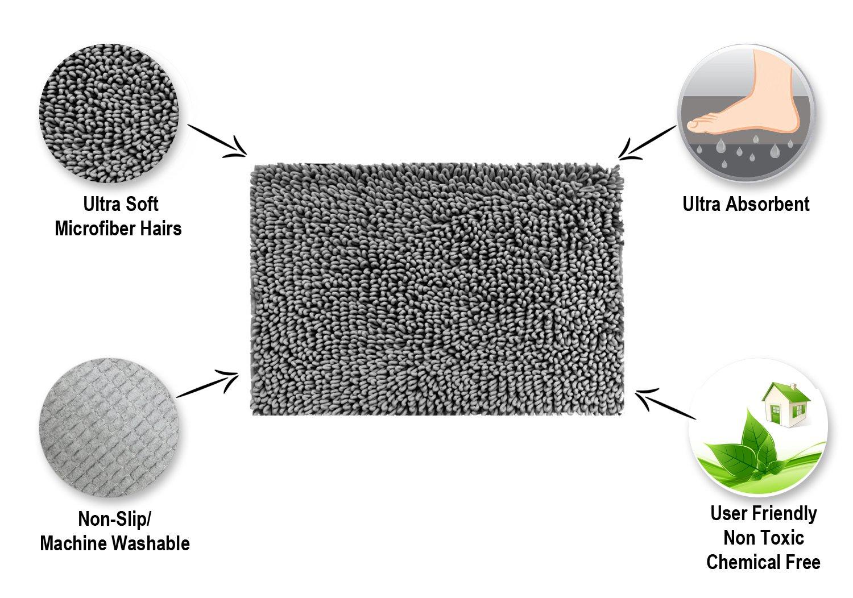 Ultra Absorbent Set of 2 Raphael Rozen Machine Washable Malibu Microfiber Shag Bath Mat Non-Slip Backing Durable Ultra Soft