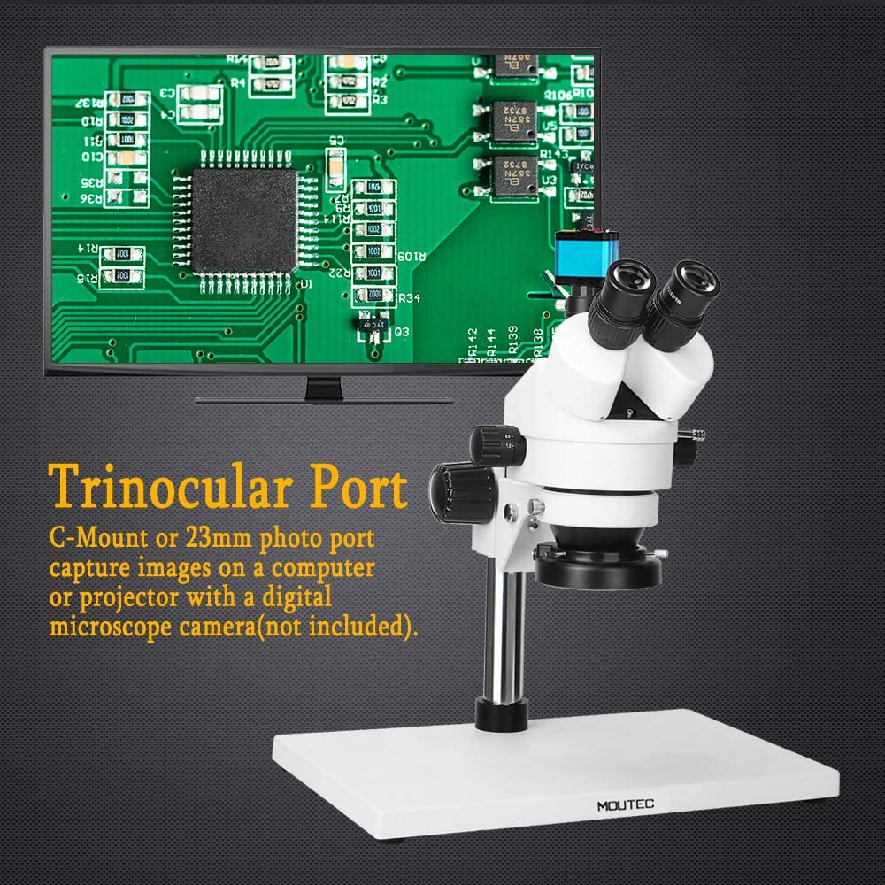 Pillar Stand PCB Assembly and More Moutec 7X-45X Trinocular Zoom Stereo Microscope with LED Illuminator Industrial Inspection Microscope for Material /& Jewelry Inspection Larger Table Soldering