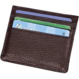 Hibate Men's Genuine Leather Front Pocket Wallet Case Super Slim Credit Card Holder Sleeve - Coffee