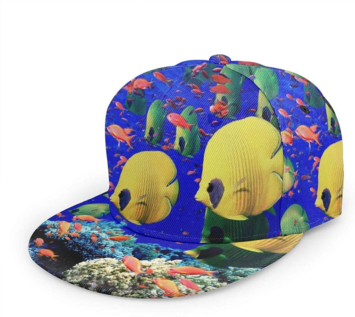 Colorful Tropical Underwater Sea World Fish Lightweight Unisex Baseball Caps Adjustable Breathable Sun Hat for Sport Outdoor Black