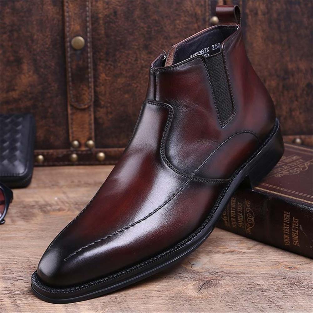 Hombres Cuero Puntiagudo Botas zapatos Alto , , , Negocio Negro 5b383d