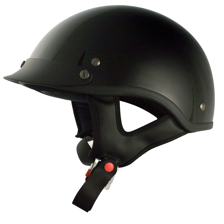 TORC T53 Black Hills Motorcycle Half Helmet with Peak Visor(Solid Color-Gloss Black)