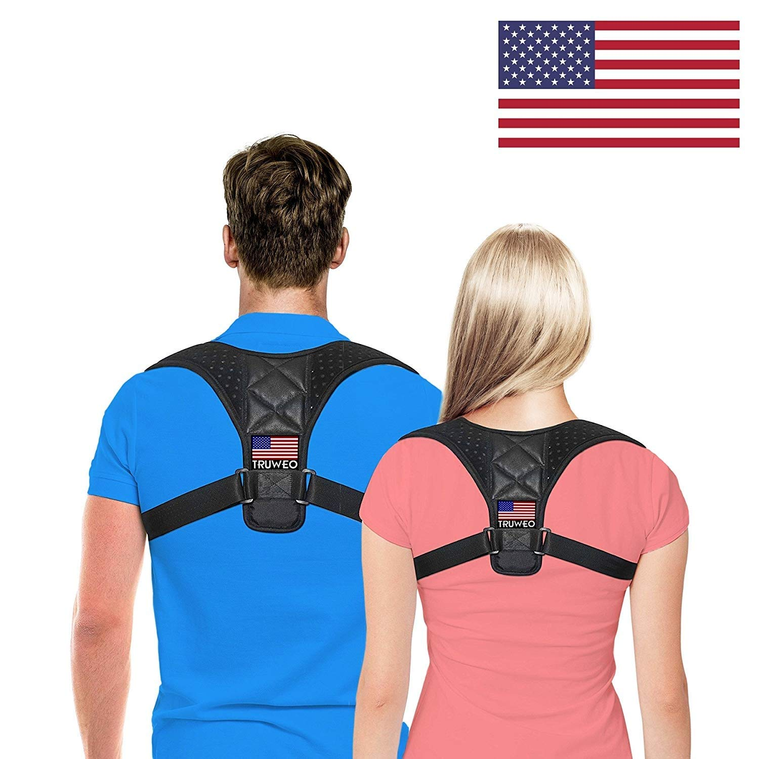Posture Corrector for Men & Women by Truweo – USA Designed Upper Back Support Brace for Providing Pain Relief from Neck, Back, Shoulder & Bad Posture - Clavicle Support Brace for Slouching & Hunching
