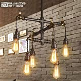 Injuicy Lighting Loft Vintage Industrial Wrought Iron E27 Edison Pendant Lights Lamps Fixtures Retro American Water