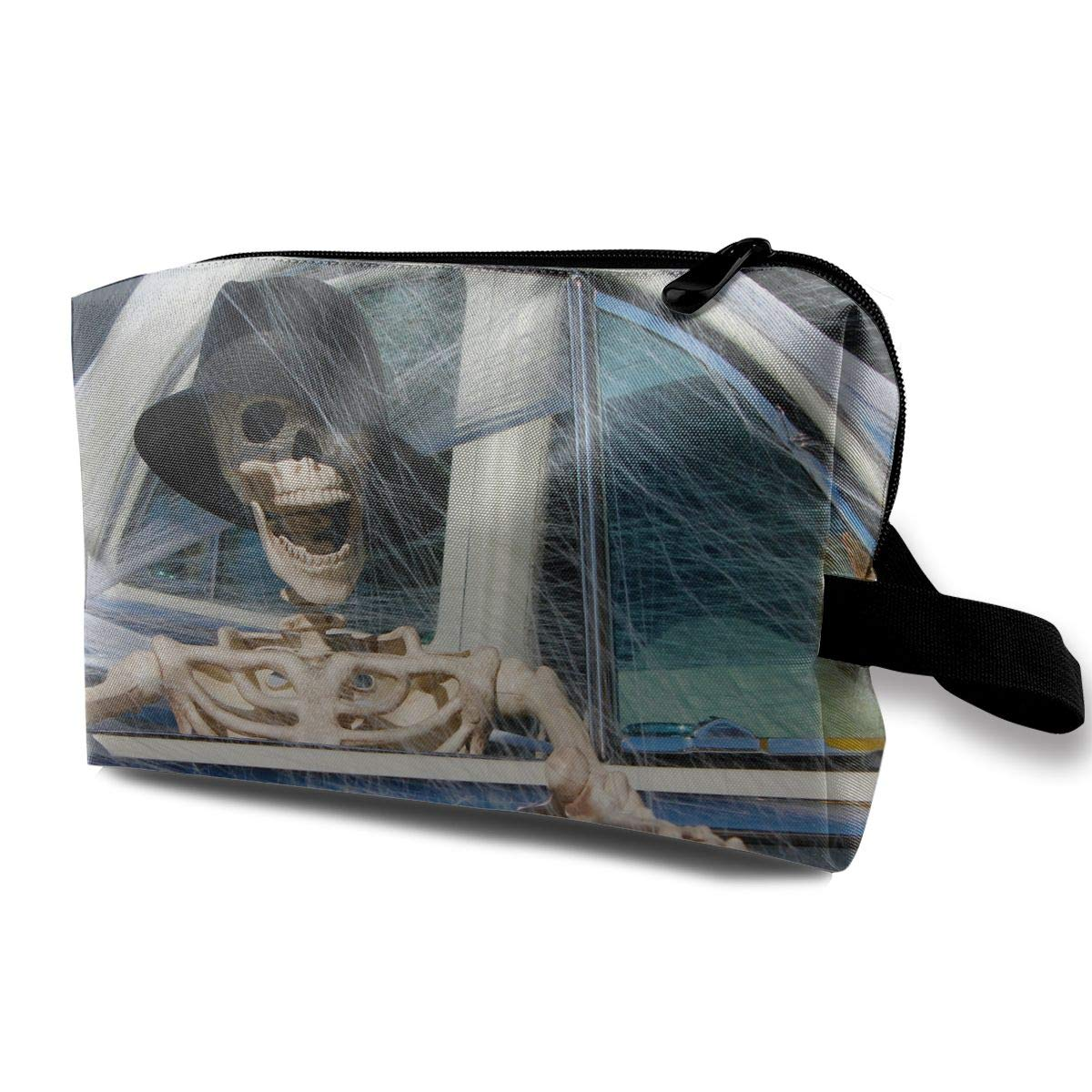Scary Halloween Skull Skeleton Driving Spider Web Car Multi-function Travel Makeup Toiletry Coin Bag Case