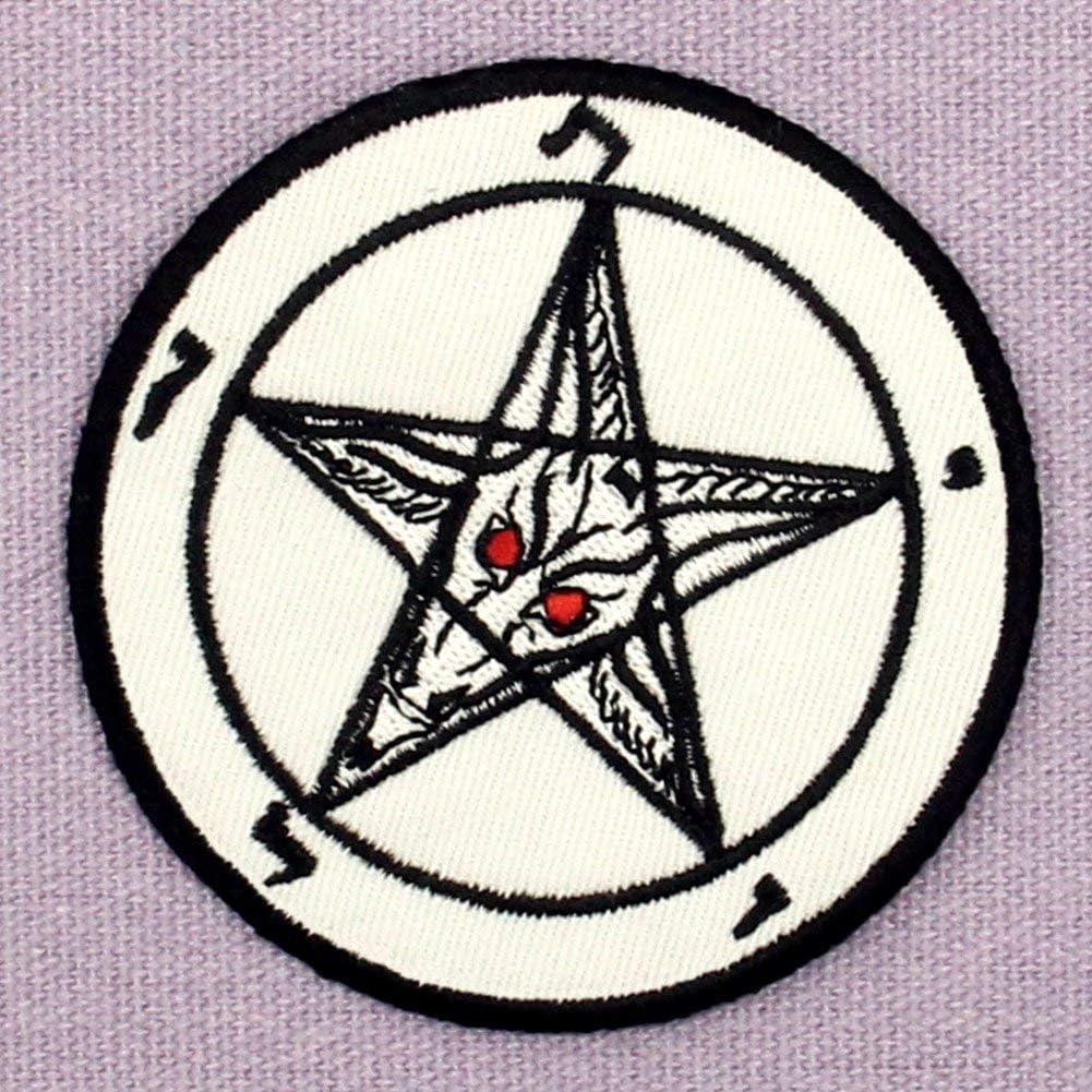 Parche termoadhesivo para la ropa dise/ño de Pentagrama Cabras Cabeza Baphomet Muerte Sexo Sat/ánico