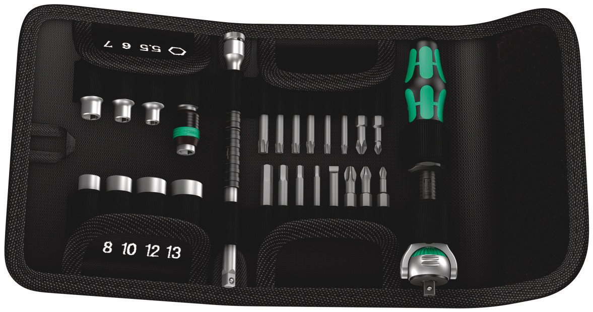 Wera Tools 26Pc Zyklop Ratchet ¼'' Socket and Bit Set with pouch (Metric) by Wera