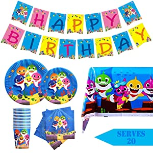 Humfoo 82Pcs Baby Shark Birthday Party Supplies and Decorations Baby Shark Paper Plates,Cups,Napkins,Tablecloth,Baby Shark Birthday Banner,Serves 20