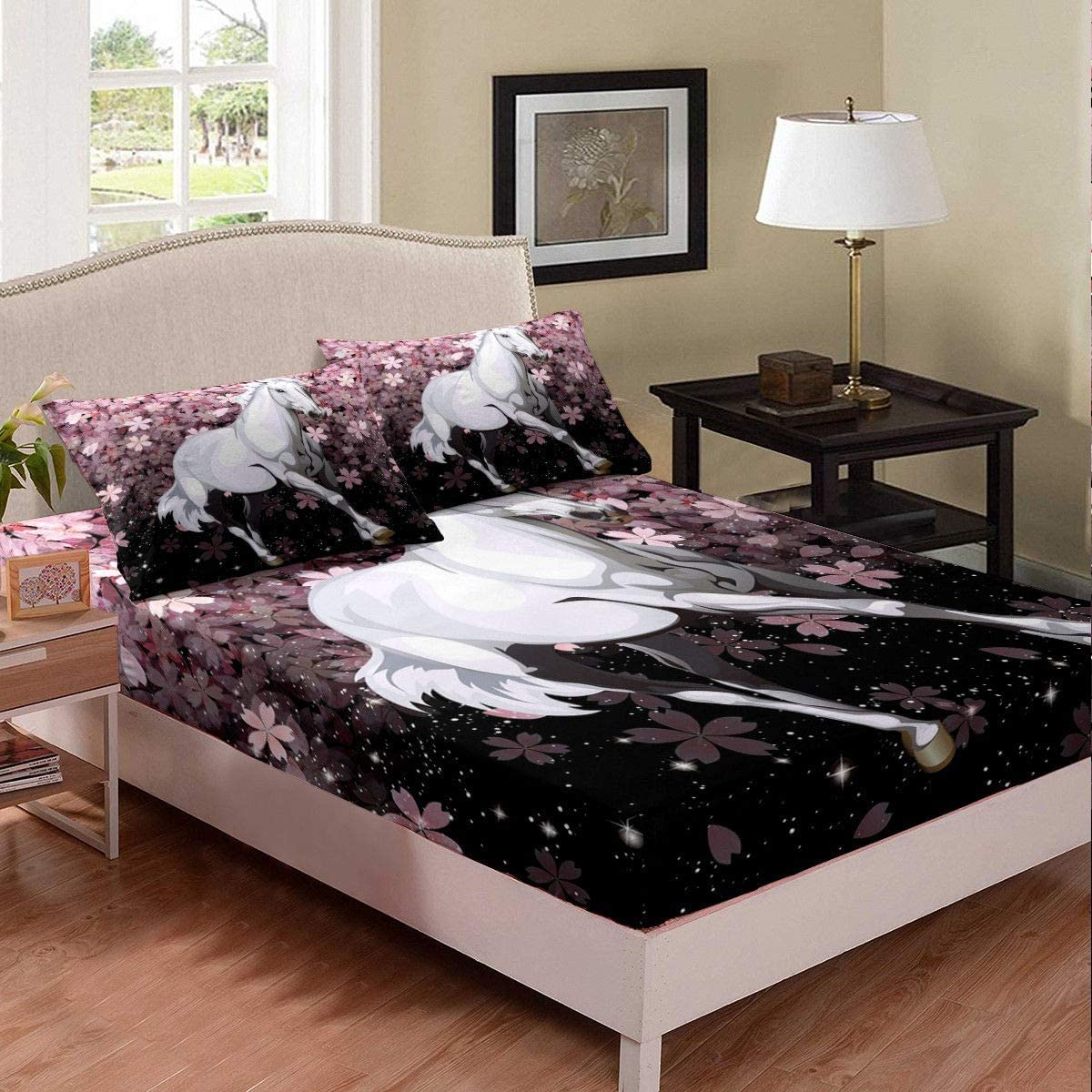 Girl Cherry Blossoms Fitted Sheet, Japanese Style Bedding Sets Twin Size, Kids Starry Sky Cherry Flower White Horse Printed Sheet Set, Romantic Theme Bed Cover and 1 Pillowcase, Pink Black