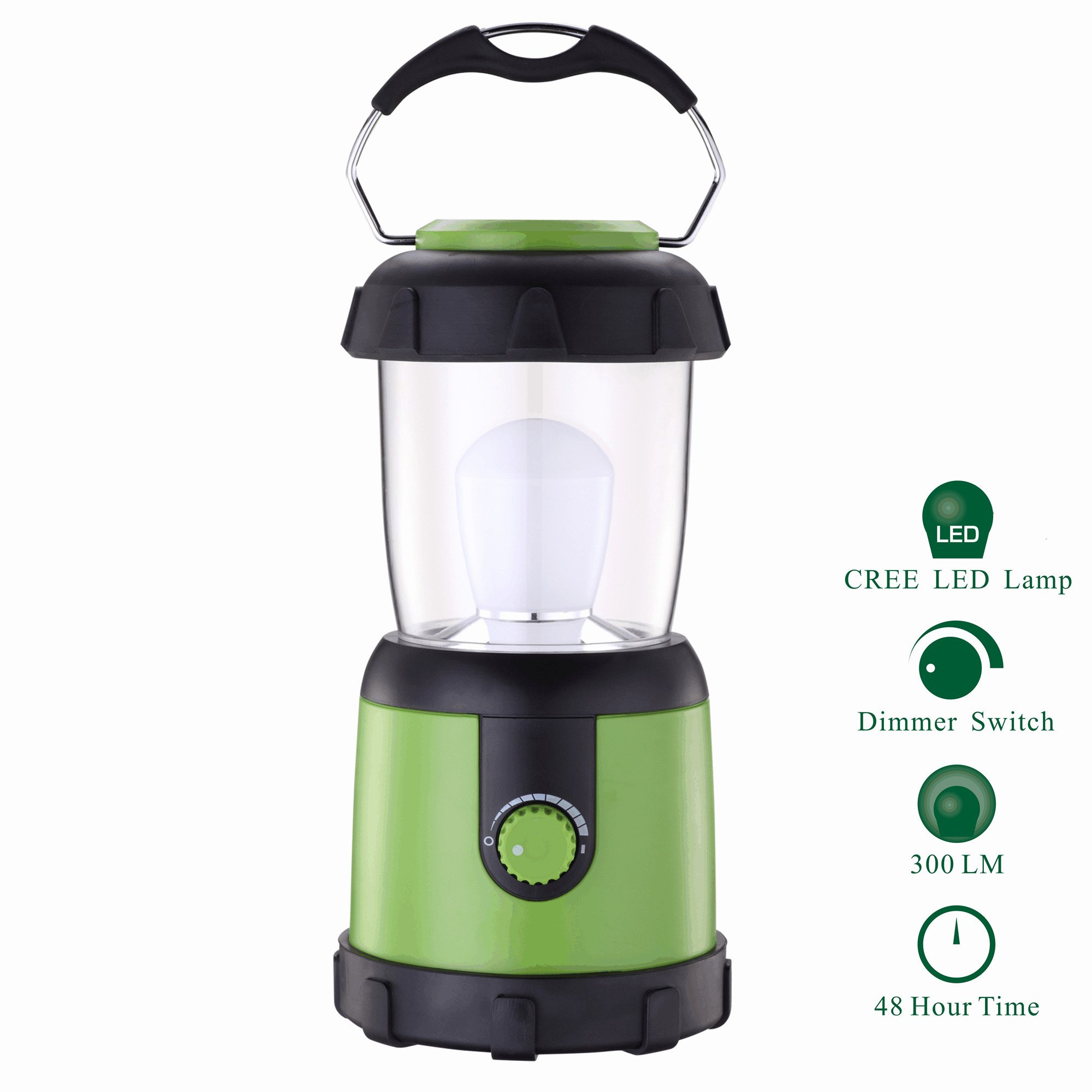 LED Camping Lantern with Dimmer Switch, Water Resistant Portable Flashlight Lantern for Camping, Emergency, Hurricane(4 D Battery Powered)