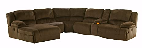 Ashley Furniture Signature Design - Toletta 6-Piece Sectional - Right Arm Recliner with Armless  sc 1 st  Amazon.com : ashley furniture chocolate sectional - Sectionals, Sofas & Couches