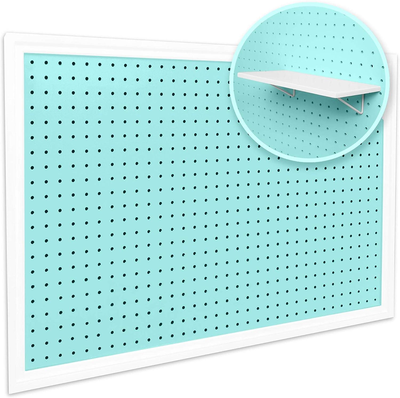 "Pegboard Organizer - Craft Peg Board | Nursery Storage | Pegboard Wall Organizer for Office | Fits 1/4"" & 1/8"" Pegboard Accessories Basket & Hooks | White Pegboard Shelf Included (Mint/Aqua)"