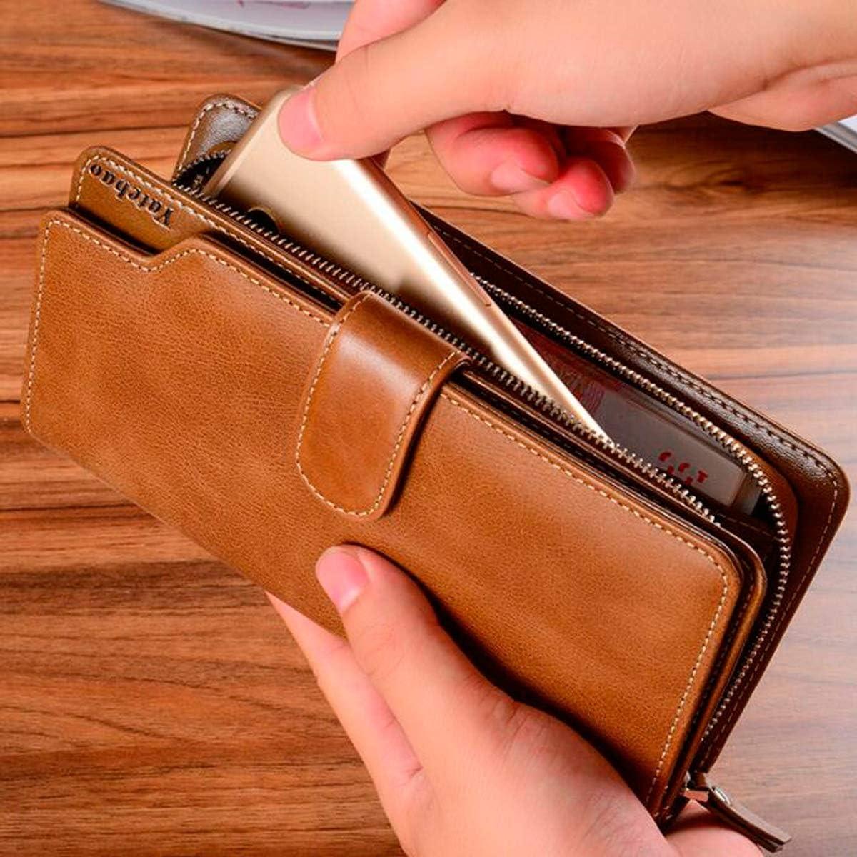 Best Gift Extra Capacity Travel Wallet Clutch Credit Card Package Color : Brown, Size : 199.5cm Kalmar RFID Travel Wallet Stealth Mode Leather Zip Wallet Big Travel Wallet Handbag