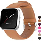 "Mosstek Leather Bands Compatible with Fitbit Versa & Versa 2 & Versa Lite & Versa Special, Leather Band Replacement Strap for Versa Women Men 5.3""-7.7"" (135-195mm) Brown FB-VS-NWP-BN"