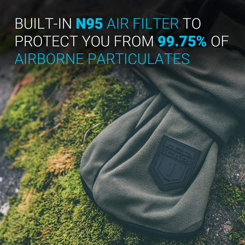 Scarf with Built-in N95 Air Filter Mask for Pollution Dust and Germs BioScarf