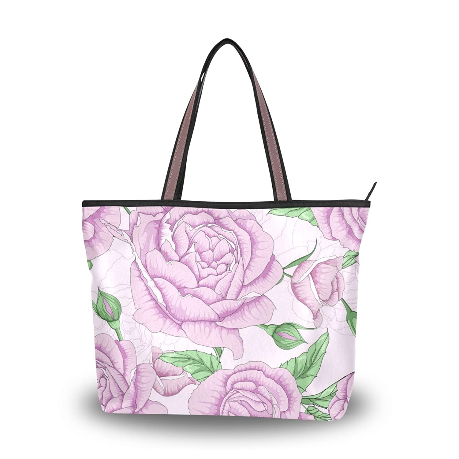 Senya Women's Handbag Microfiber Large Tote Shoulder Bag, Floral Pattern