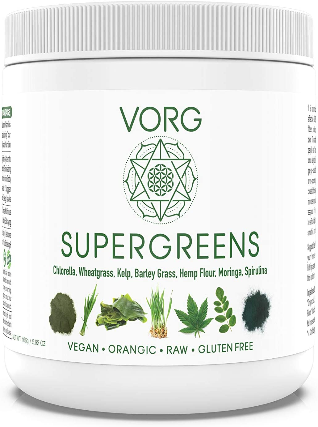 Super VORG SuperGreens - Veggie Powder Superfood Supplement with Chlorella, Barley Grass, Moringa, Hemp Flour, Kelp, Spirulina, Wheatgrass - Natural Organic Ingredients, No Soy or Gluten - 33 Servings