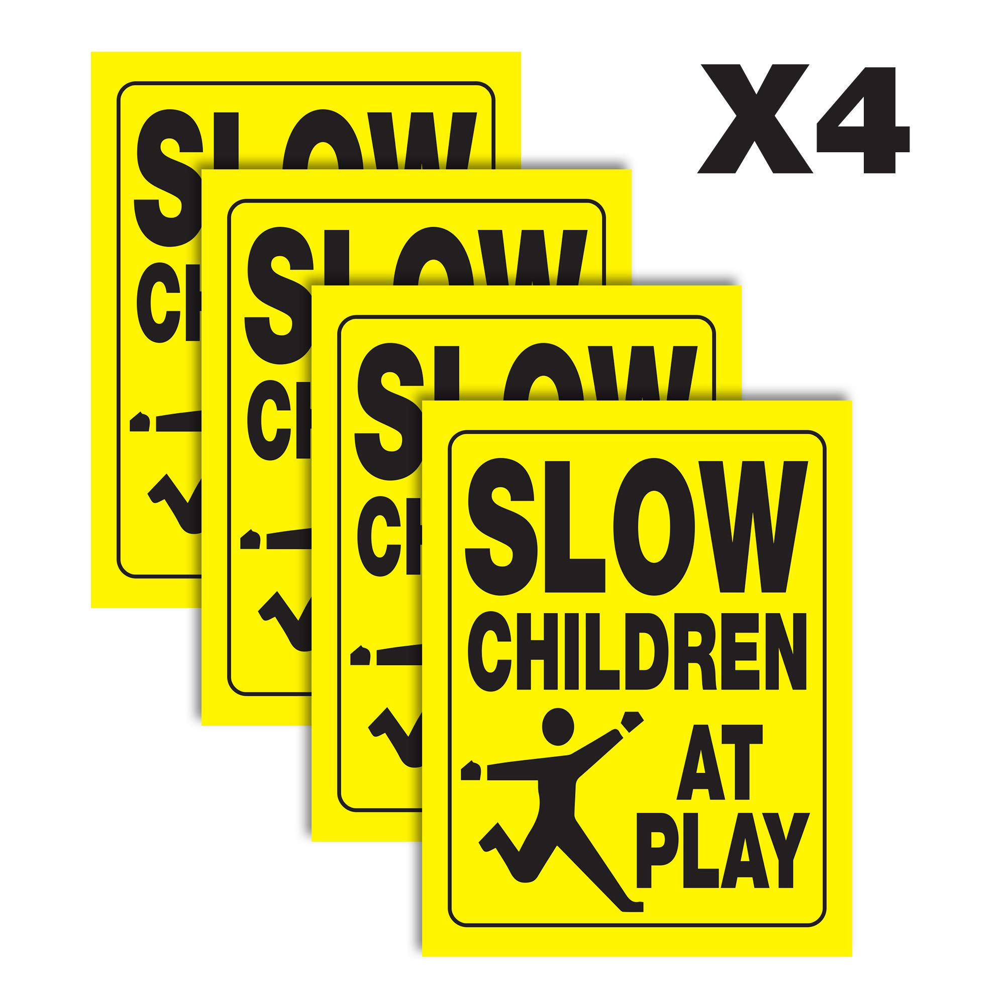 Slow Children at Play Yellow Yard Sign | Double-Sided Black on Yellow Safety Slow Down Signs for Sidewalks, Yards and Driveways 18'' x 24'' (4 Pack)