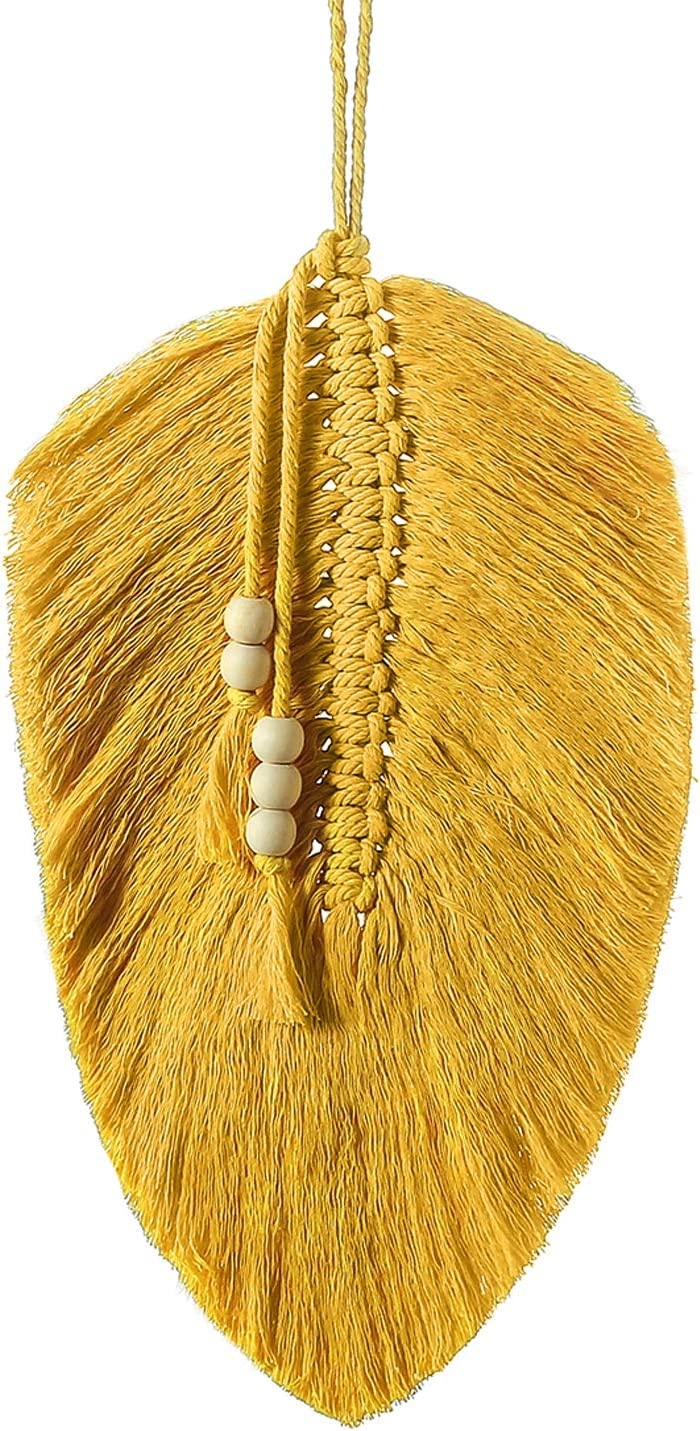 Nice Dream Macrame Wall Hanging Feather Leaf, Boho Decor Cotton Macrame Cord Wall Art with Wooden Beads (Yellow)