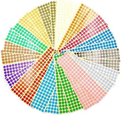 JZK 30 Hojas 10mm pegatinas adhesivos de colores 15 colores Pegatinas pequeñas de puntos redondos de color para codificar etiquetas adhesivas: Amazon.es: Oficina y papelería