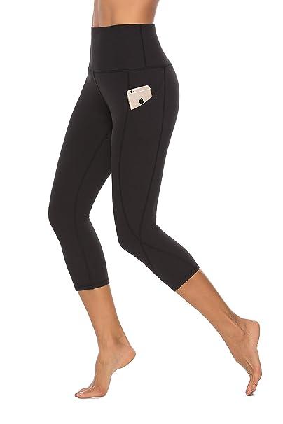 fab92a1acad SERHOM High Waist Out Pocket Yoga Pants Capri Tummy Control Workout Running  4 Way Stretch Yoga