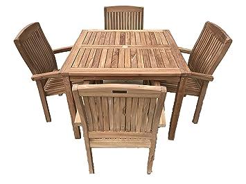 Romsey 4 Salon de jardin en teck massif 1 Table carré fixé m ...