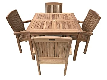 Romsey 4 Salon de jardin en teck massif 1 Table carré fixé m avec ...